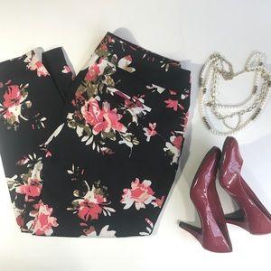 Ann Taylor Loft Black floral pants Marisa fit